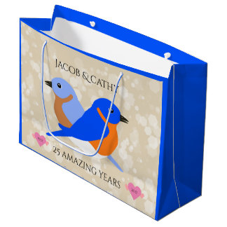Beautiful Bluebirds: Any Anniversary Year Large Gift Bag