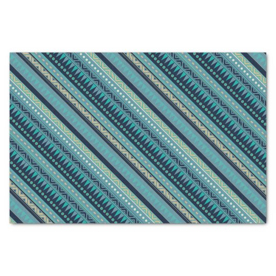 Beautiful Blues Geometric Stripe Tissue Paper
