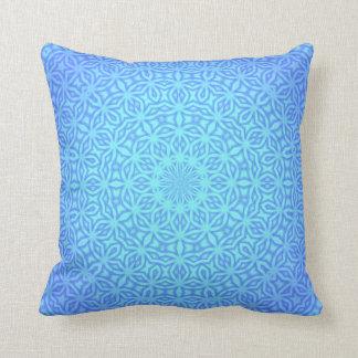 Beautiful Blues Kaleidoscope Pattern Throw Pillow