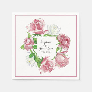 Beautiful Blush Pink Rose Elegant Floral Wedding Paper Napkins