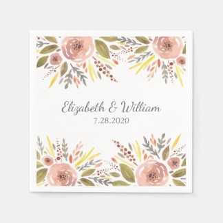 Beautiful Blush Rose Watercolor Floral Wedding Disposable Napkins