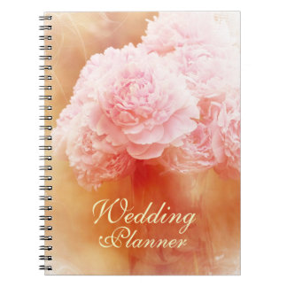 Beautiful Blushing Peony Bouquet Wedding Planner Spiral Note Book