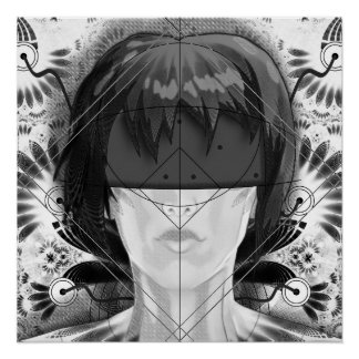 Beautiful BnW Fractal Feathers for Major Motoko Perfect Poster