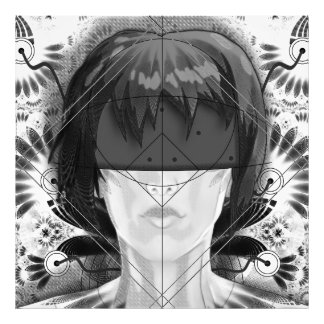 Beautiful BnW Fractal Feathers for Major Motoko Photo Print