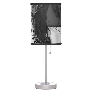 Beautiful BnW Fractal Feathers for Major Motoko Table Lamp