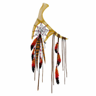 Beautiful Boho Bohemian Deer Antler Dream Catcher Photo Sculpture Ornament