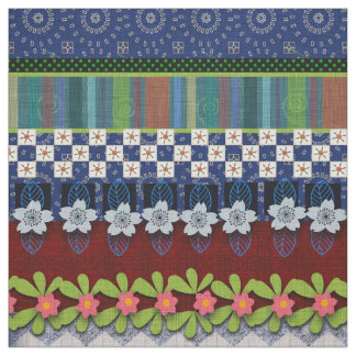 Beautiful Boho Border   Whimsical Floral Design Fabric