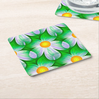 Beautiful Bold Daisies Square Paper Coaster