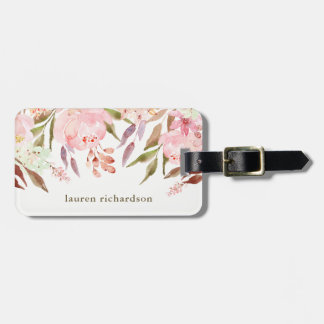 Beautiful Botanical | Watercolor Floral on White Luggage Tag