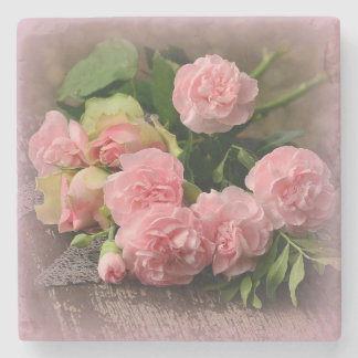 Beautiful Bouquet Pink Roses on Marble Coaster