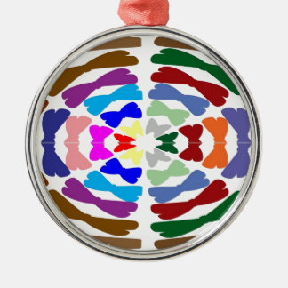 Beautiful Bow Tie Dance -  Enjoy n Share Joy Silver-Colored Round Ornament