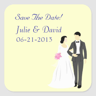 Beautiful Bride & Groom Wedding Square Sticker