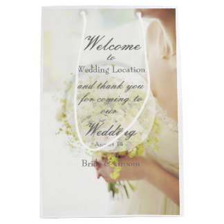 Beautiful Bride with Flower Bouquet Wedding Medium Gift Bag