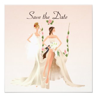 Beautiful Brides Lesbian Save the Date Card