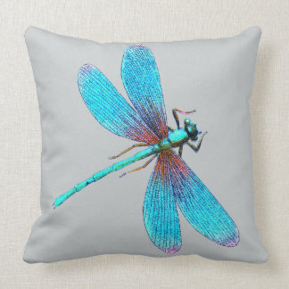Beautiful Bright Blue Turquoise Dragonfly Throw Pillow