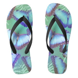 Beautiful bright butterflies flip flops