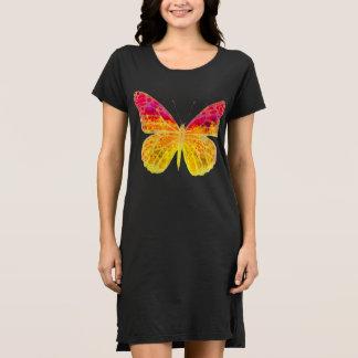 Beautiful Bright Butterfly on Black Dress