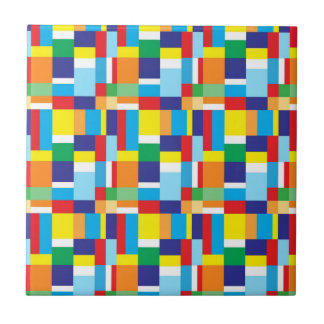 Beautiful Bright Colorful Blocks Plaid Squares Tile