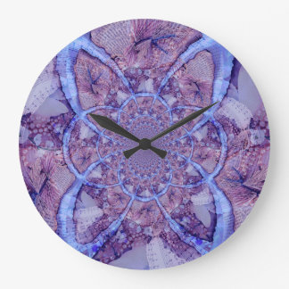 Beautiful bright, fractal purple kaleidoscope large clock