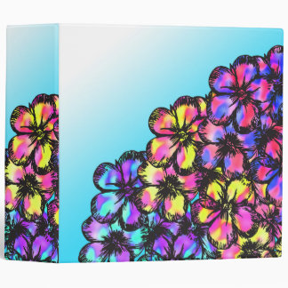Beautiful Bright Neon Tie Dye Painted Flowers Binders