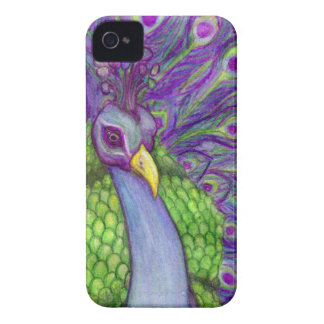 Beautiful Bright Peacock Portrait Painting iPhone 4 Cases