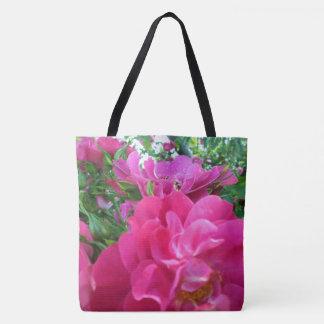 Beautiful Bright Pink Roses Garden Flowers Tote Bag