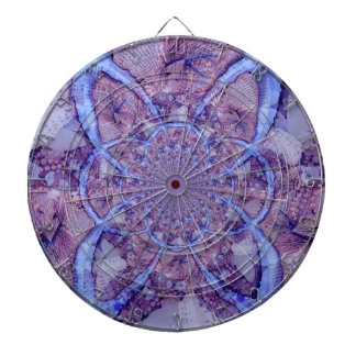 Beautiful bright, purple fractal kaleidoscope dartboard