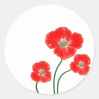 Beautiful  bright red poppy flowers image classic round sticker