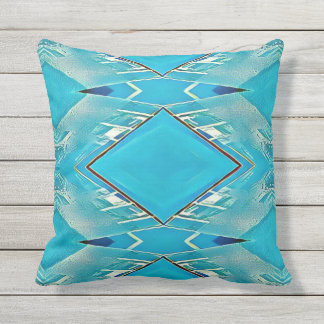 Beautiful Bright Turquoise Tribal Pattern Throw Pillow
