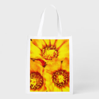 Beautiful bright yellow flowers reusable grocery bag