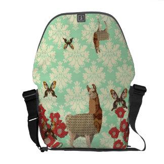 Beautiful Bronze Llama & Golddust Butterflies Mess Courier Bags