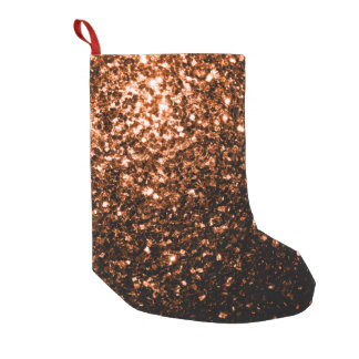 Beautiful Bronze Orange Brown glitters sparkles Small Christmas Stocking