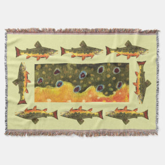 Beautiful Brook Trout Fishermans Throw Blanket
