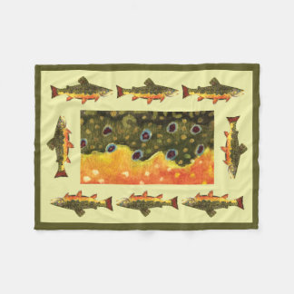 Beautiful Brook Trout Fly Fishing Fleece Blanket