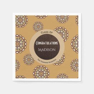 Beautiful Brown Abstract Graduation Paper Napkin