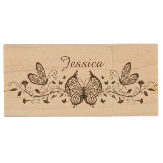 Beautiful Brown Butterflies Wooded USB Drive