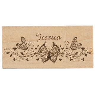 Beautiful Brown Butterflies Wooded USB Drive Wood USB 2.0 Flash Drive