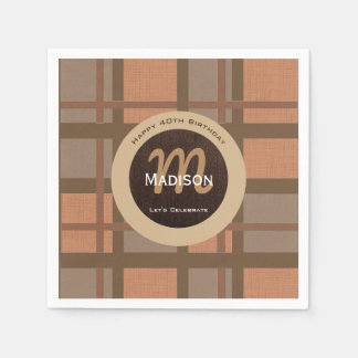 Beautiful Brown Contemporary Birthday Paper Napkins