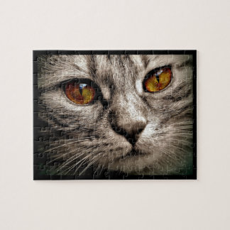 Beautiful Brown Eyed Gray Tiger Cat Jigsaw Puzzle