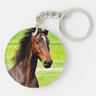Beautiful Brown Horse Green Grass Double-Sided Round Acrylic Keychain