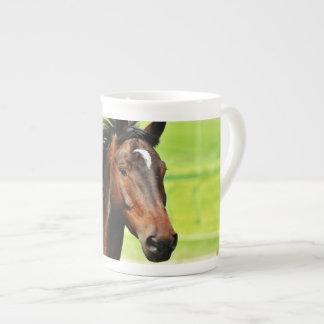 Beautiful Brown Horse Green Grass Tea Cup