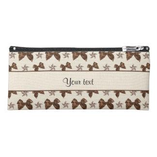Beautiful Brown Satin  Bows Pencil Case