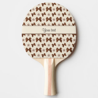 Beautiful Brown Satin  Bows Ping Pong Paddle