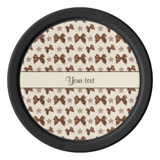 Beautiful Brown Satin  Bows Poker Chips