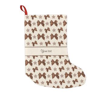 Beautiful Brown Satin  Bows Small Christmas Stocking