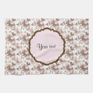 Beautiful Brown Swirly Butterflies Hand Towels