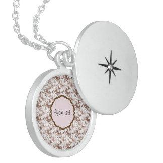 Beautiful Brown Swirly Butterflies Locket Necklace