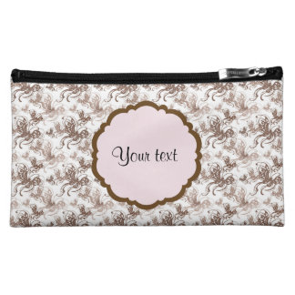 Beautiful Brown Swirly Butterflies Makeup Bag