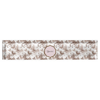 Beautiful Brown Swirly Butterflies Nameplate