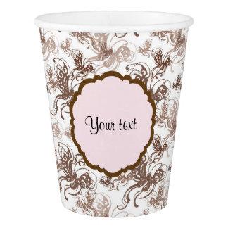 Beautiful Brown Swirly Butterflies Paper Cup